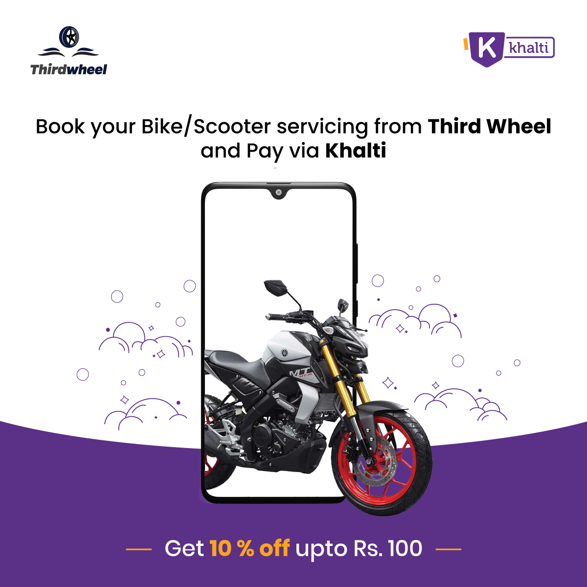 Take your bike for a fitness check at Third Wheel & get 10% cashback by paying via Khalti wallet